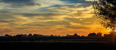 Sunrise over the vinyards of Durnstein, Austria stock photography