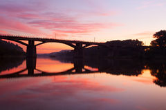 Sunrise over the Vltava river Royalty Free Stock Images