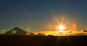 Sunrise Over volcanoes of Kamchatka Peninsula Stock Photo