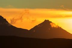 Sunrise Over volcanoes of Kamchatka Peninsula Royalty Free Stock Image