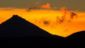 Sunrise Over volcanoes of Kamchatka Peninsula Stock Images