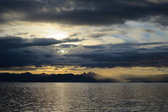 Sunrise Over the Water in Alaska Royalty Free Stock Photography