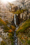 Sunrise over waterfall in Autumn Royalty Free Stock Photography