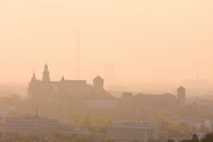 Sunrise over Wawel hill Stock Photography