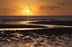 Sunrise over the windfarm Stock Image