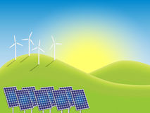 Sunrise over windmills and photovoltaic power plan Stock Image