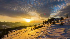 Sunrise over the Winter Mountain stock video footage