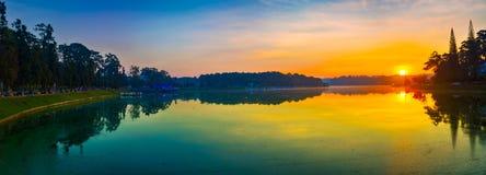 Sunrise over Xuan Huong Lake, Dalat, Vietnam. Panorama. Amazing view of sunrise over Xuan Huong Lake, Dalat, Vietnam. Panorama royalty free stock photo