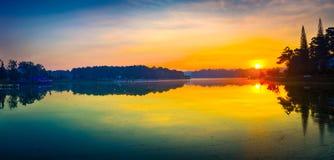 Sunrise over Xuan Huong Lake, Dalat, Vietnam. Panorama. Panoramic view of Da Lat city, little Paris of Vietnam. Amazing view of sunrise over Xuan Huong Lake royalty free stock photography