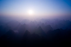Sunrise over Yangshuo Royalty Free Stock Photos
