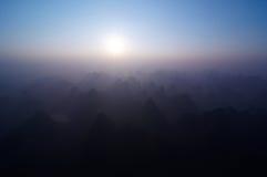 Sunrise over Yangshuo stock image