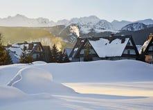 Sunrise over Zakopane in winter, Tatras mountains stock images