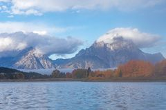 Sunrise at Oxbow Bend in Autumn. A scenic autumn landscape at oxbow bend in Grand Teton National Park at sunrise Stock Photo