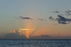 Sunrise on the Pacific Ocean. French Polynesia Royalty Free Stock Photo