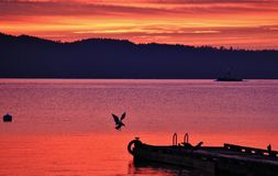 Sunrise in Pacific Ocean, Ladysmith, Vancouver Island, British Colombia Stock Photography