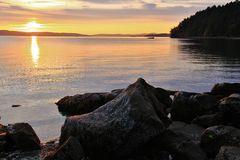 Sunrise in Pacific Ocean, Ladysmith, Vancouver Island, British Colombia Royalty Free Stock Image