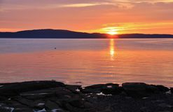 Sunrise in Pacific Ocean, Ladysmith, Vancouver Island, British Colombia Royalty Free Stock Photos
