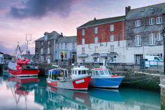 Sunrise at Padstow. Winter sunrise overfishing boats at Padstow harbour on the north coast of Cornwall Stock Photos