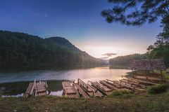 Sunrise in Pang Ung Maehongson Thailand. Morning in Pang Ung Lake,North of Thailand, is a tourist place where people come to vacation in the winter stock images