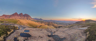Sunrise Pano at the peaks Stock Image