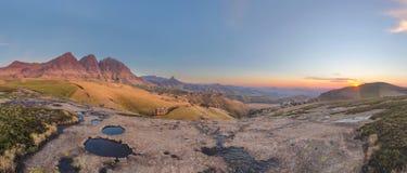 Sunrise Pano at the peaks. Sehlabathebe NP, Lesotho stock image