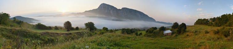 Sunrise panorama. Sunrise in Transylvania. High density range image, panorama 3x6 images Royalty Free Stock Photography