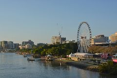 Sunrise Panorama of Brisbane River & South Bank, Quuenland Austr Royalty Free Stock Photo