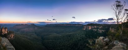 Sunrise Panorama at Ecco Point in Blue Mountains. Sunrise Panorama at Ecco Point - Three Sisters in Blue Mountains National Park, New South Wales, Australia Stock Photo