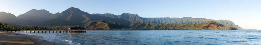 Sunrise panorama in Hanalei Bay Kauai Royalty Free Stock Photography