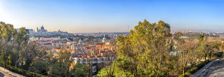 Sunrise panorama of Madrid with Royal Palace and  Almudena Cathe Royalty Free Stock Image