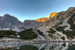 Sunrise Panorama of Sinanitsa peak and lake, Pirin Mountain Stock Images