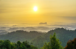 Sunrise of Panoramic Hill, Sungai Lembing Royalty Free Stock Photos
