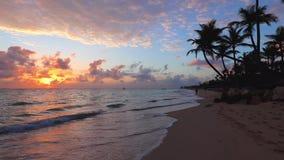 Sunrise on paradise tropical island beach and caribbean sea, Punta Cana. Dominican Republic stock video footage