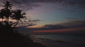 Sunrise on paradise tropical island beach and caribbean sea, Punta Cana. Dominican Republic stock video