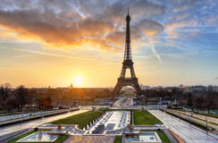 Sunrise in Paris, with Eiffel Tower Royalty Free Stock Photography