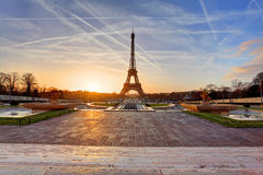 Sunrise in Paris, with the Eiffel Tower Royalty Free Stock Image