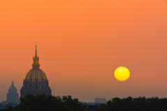 Sunrise in Paris on Les Invalides Royalty Free Stock Photography