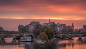 Sunrise at paris stock photo
