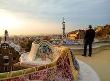 Sunrise in Park Guell. Barcelona, Spain royalty free stock images
