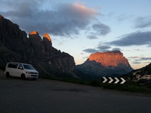 Sunrise on Passo Gardena Royalty Free Stock Photos