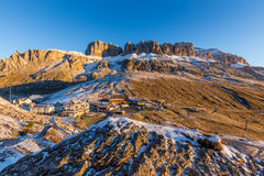 Sunrise at Passo Pordoi in Dolomites in Italy Royalty Free Stock Photos