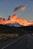 Sunrise at a Patagonian way stock photos