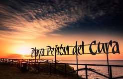 Sunrise on the Peñon del Cura beach. Cost of Sun. Stock Image
