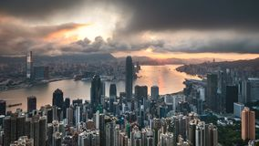 Sunrise at The Peak of Hong Kong with cloudy sky stock footage