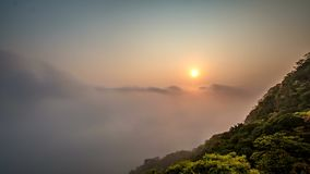 Sunrise at The Peak of Hong Kong with fog stock video footage