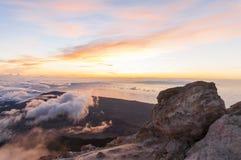 Sunrise at the peak of volcano Teide. Tenerife Royalty Free Stock Photo