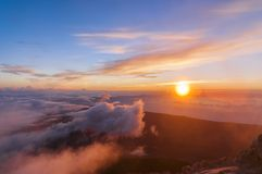 Sunrise at the peak of volcano Teide. Tenerife Royalty Free Stock Photos