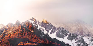 Sunrise at the peak of Yulong SnowMountain Stock Photos