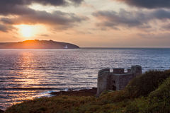 Sunrise at Pendennis Head stock images