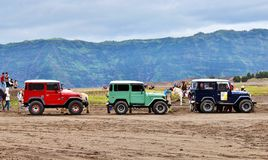 Sea of sands. Sea of jeep. Bromo Stock Images